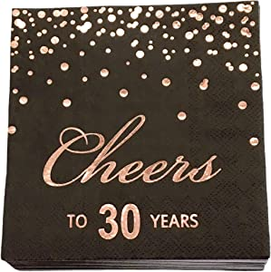Rose Gold Foil Cocktail Napkins with Cheer 30 Years | Folded 5 x 5 Inches Disposable Party Napkins | 3-Ply Paper Beverage Napkins for 30th Birthday Decorations, Wedding Anniversary, Retirement, Black