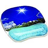 Fellowes 9202601 Tapis de souris avec repose-poignet ergonomique motif Plage tropicale