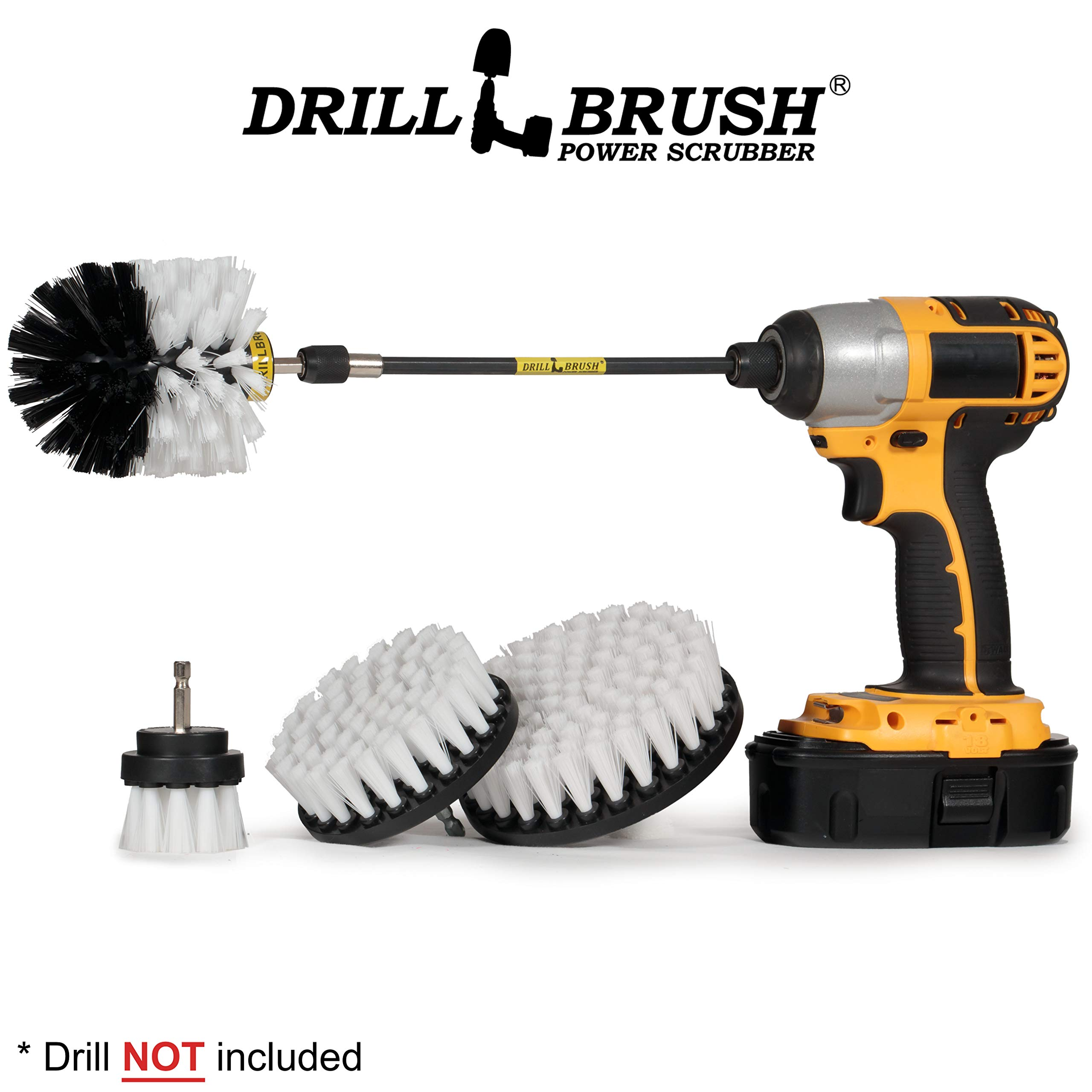 Motorcycle Accessories - Soft White Drill Brush Kit with Extension - Car Wash - Cleaning Supplies - Automotive Tire, Wheel - Boat Seat, Carpet, Interior, Upholstery, Vinyl, Fabric, Leather Cleaner by Drillbrush