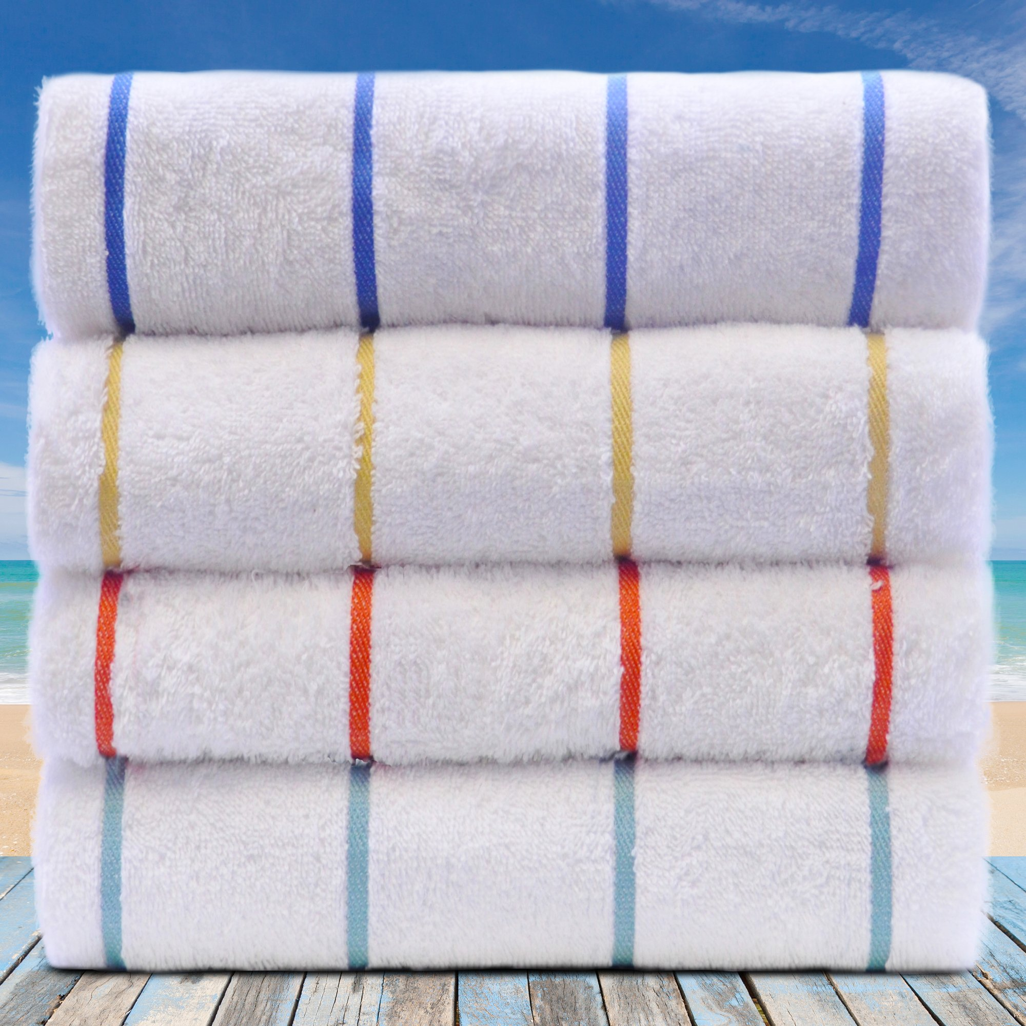 BC BARE COTTON Luxury Hotel & Spa Towel Turkish Cotton Pool Beach Towels - Mix Color - Striped Large Pool-Beach Towel - Set of 4