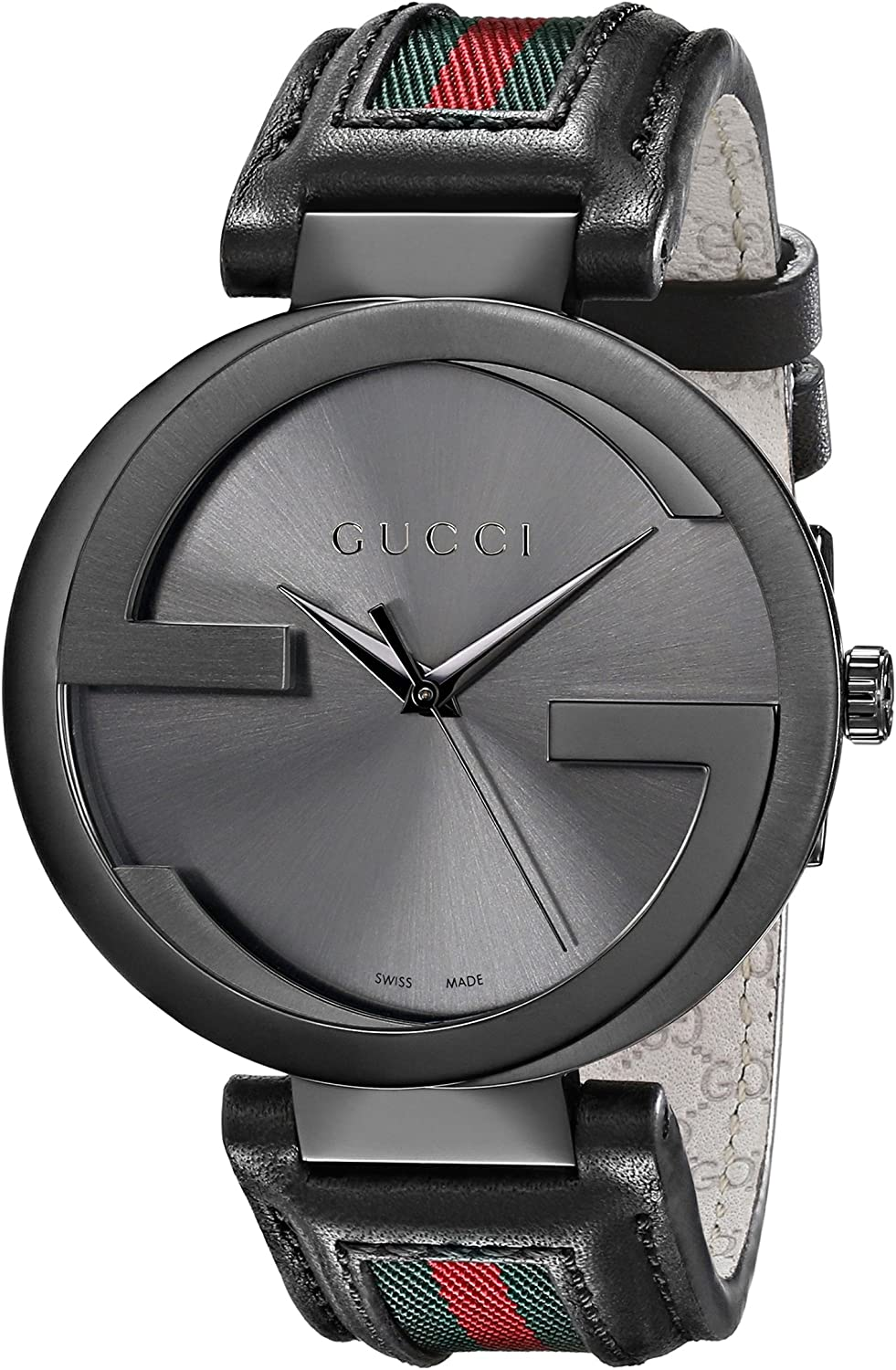 Gucci Men s Interlocking 42mm Leather and Nylon Strap Watch-YA133206