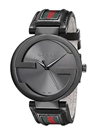 ad28c6e4160 Amazon.com  Gucci Interlocking Iconic Bezel Anthracite Stainless ...