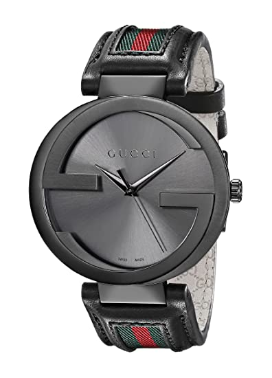 Amazon.com: Gucci Interlocking Iconic Bezel Anthracite Stainless Steel Mens Watch with Leather Band(Model:YA133206): Gucci: Watches