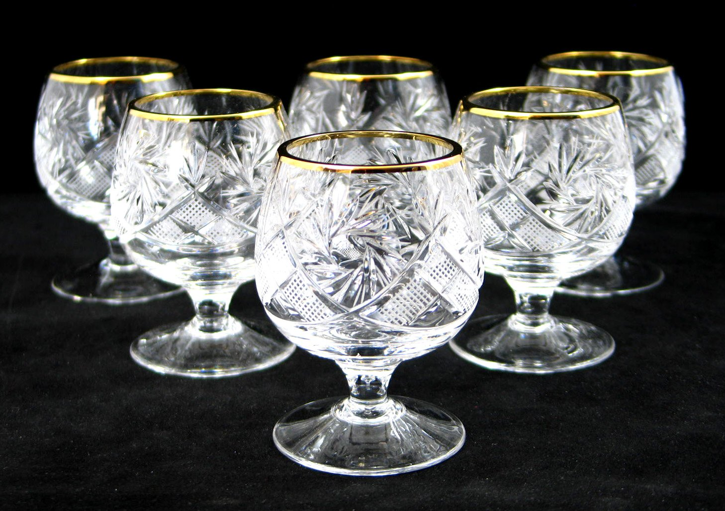 Set of 6 Russian Cut Crystal Cognac Scotch Whiskey Stemmed Snifter Goblet Glass, 24K Gold Rimmed 5 Oz. Vodka Liquor Old…