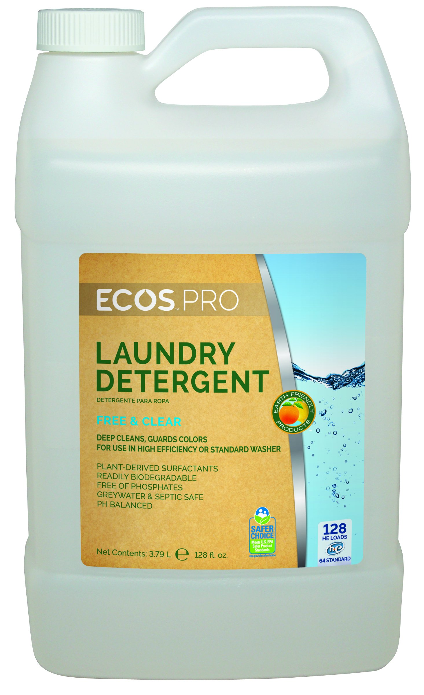 Earth Friendly Products Proline PL9764/04 ECOS Free and Clear Liquid Laundry and Microfiber Detergent, 1 gallon Bottles (Case of 4) by Earth Friendly Proline