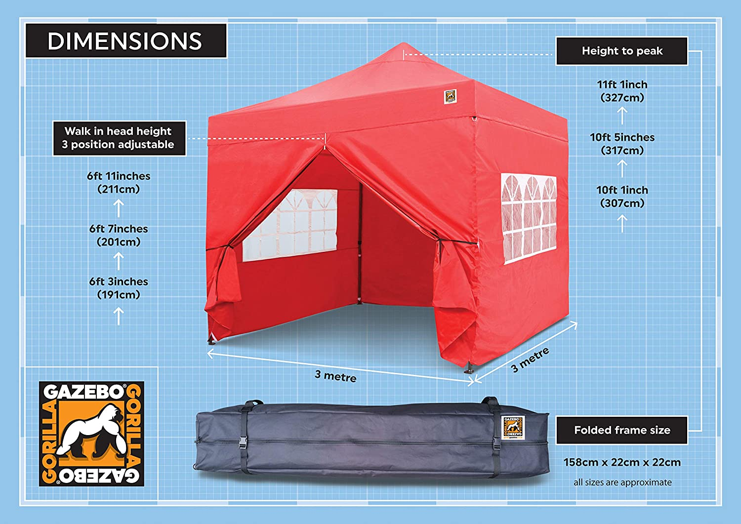 Gorilla Gazebo® Pop Up 3 x 3 m, resistente, impermeable, de grado ...