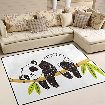 Amazon Com Alaza Cartoon Panda Sleeping On Bamboo Area Rug Rugs For