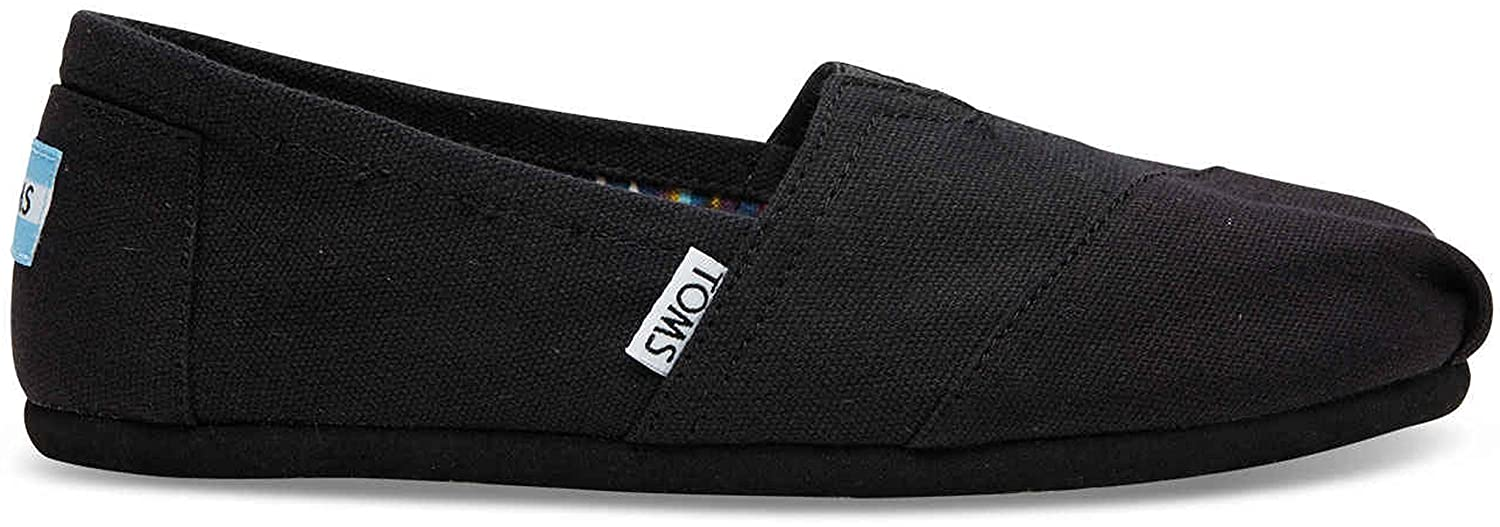 Amazon.com | Toms Womens 10002472 Canvas Alpargata Flat, Black, 8 M US | Loafers & Slip-Ons