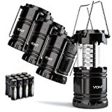 Amazon Price History for:4 Pack LED Camping Lantern, Survival Kit for Hurricane, Emergency, Storm, Outages, Outdoor Portable Lantern, Black, Collapsible (Batteries Included) - Vont