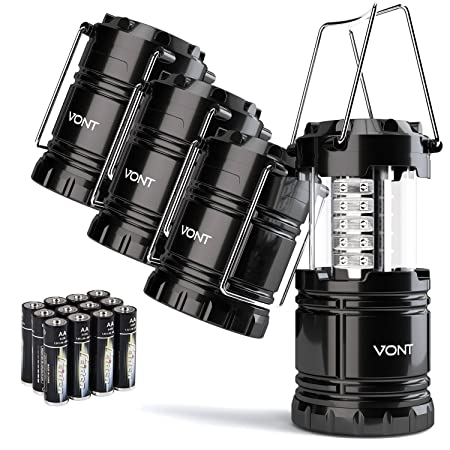 4 Pack LED Camping Lantern, Survival Kit for Hurricane, Emergency, Storm, Outages, Outdoor Portable Lantern, Black, Collapsible Batteries Included – Vont