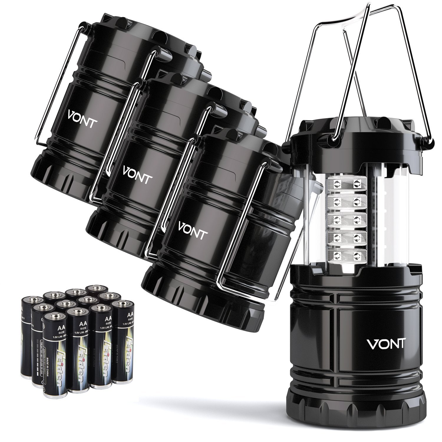 Vont 4 Pack LED Camping Lantern, Survival Kit for Hurricane, Emergency, Storm, Outages, Outdoor Portable Lanterns, Black, Collapsible (Batteries Included)