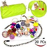 猫おもちゃ 20個入り キャットトイセット - ねこおもちゃトンネル ふわふわのマウス クリンクルボール ネズミ型音が鳴るおもちゃ 麻縄 ボール 魚 ヒョウ柄キャットチャーマー タンブラー猫のおもちゃ