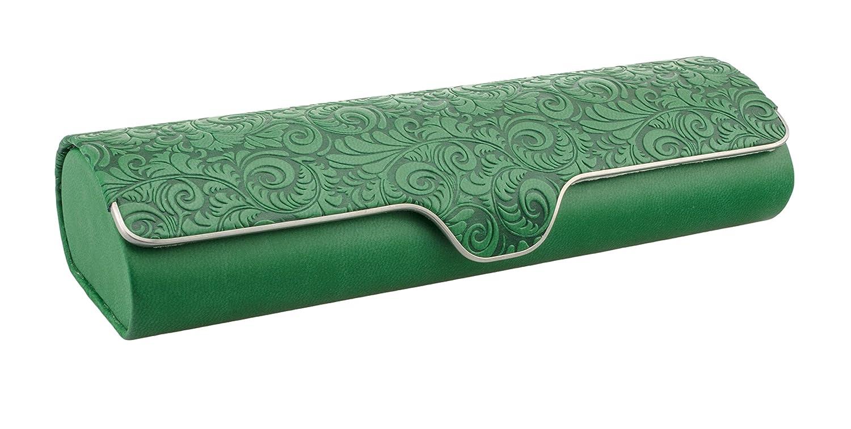 Astuccio per occhiali di Edison & King con decorazioni, rivestimento in pelle e chiusura a scatto in diversi colori (verde)