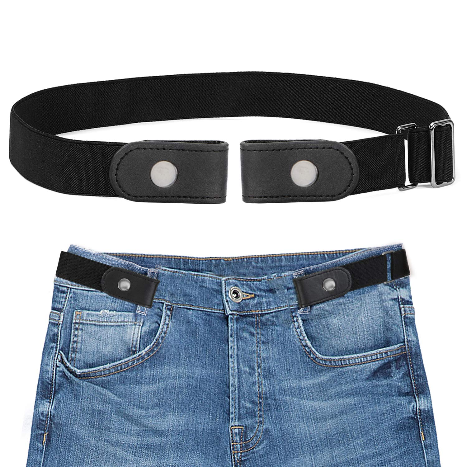 Black 2 Bucklefree Elastic Women Belt for Jeans without Buckle, SANSTHS Comfortable Invisible Belt No Bulge No Hassle