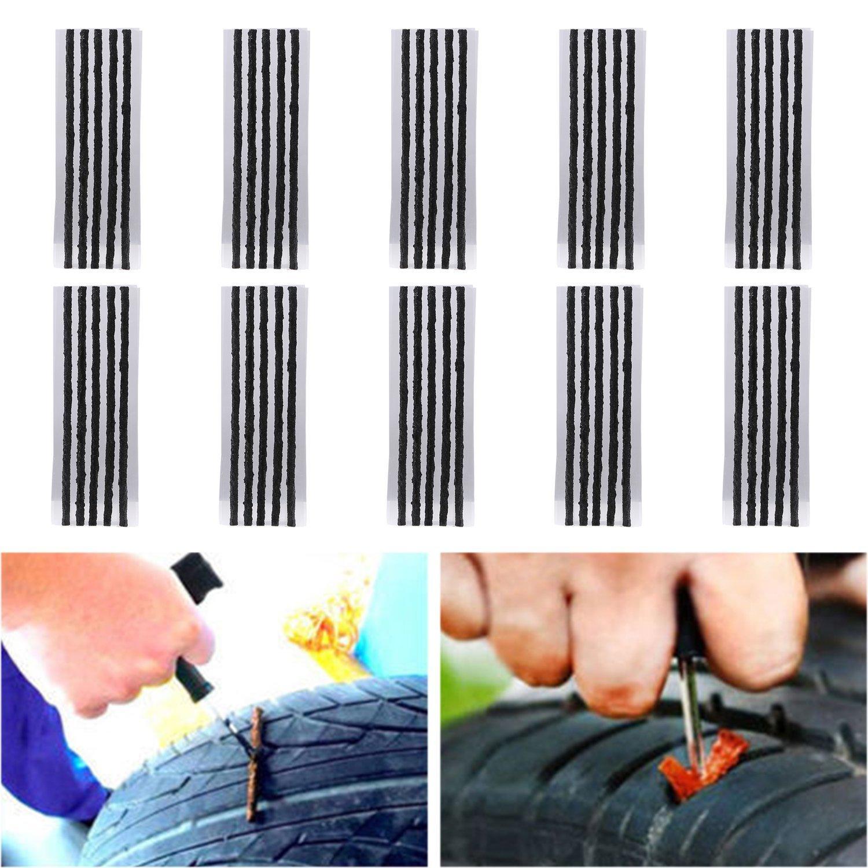[Pack of 50] Tire Repair Strings - TKOOFN Automotive Tool Tire Repair Plug for Tubeless Off-road Tires Car, Bike, ATV, UTV, Wheelbarrow, Mower - M05018