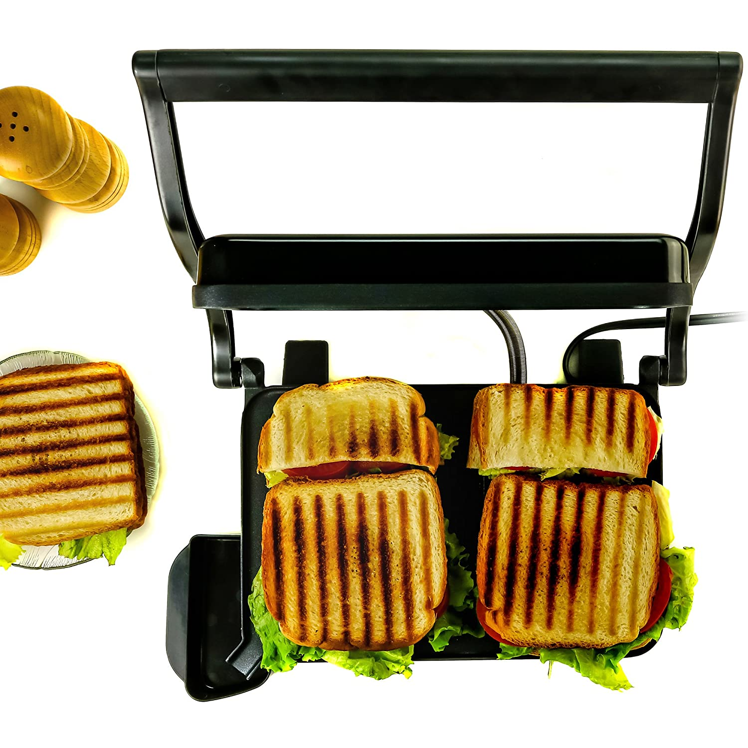 2-Slice Black Nickel Brushed Drip Tray Included Ovente GP0620B 2 Electric Panini Press Grill and Gourmet Sandwich Maker with Auto Shut-Off
