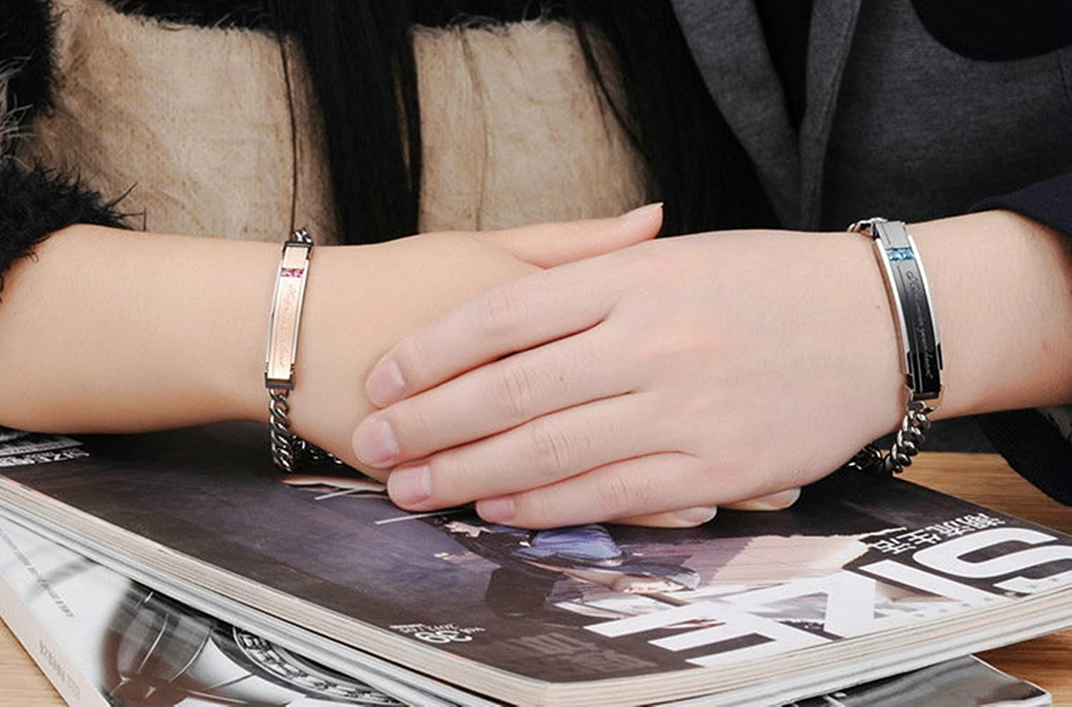 Bishilin Stainless Steel Couple Bracelets Engraving Keep me in Your Heart CZ Black Rose Gold Bracelets