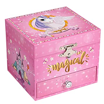 SONGMICS Joyero Musical pequeño, Caja de Joyas, Tema de Unicornio, con Bailarina,
