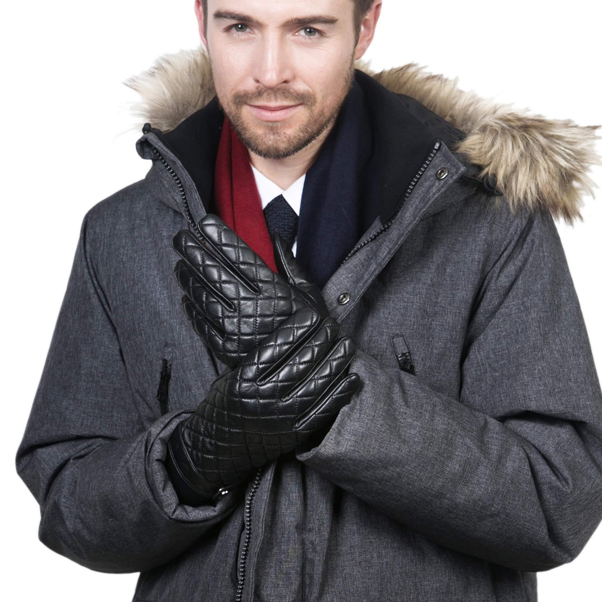 YISEVEN Men's Goatskin Winter Gloves, Fashion Lattice Style, Touchscreen Technology,Black,8.5''