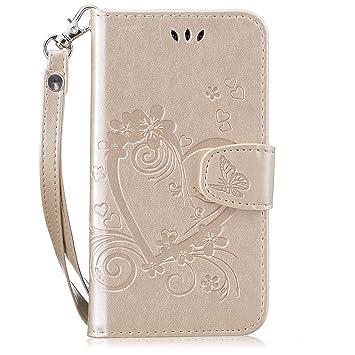 pinlu® Funda para Huawei G Play Mini/Honor 4C Smartphone Flip Billetera Carcasa Delgado PU Cuero Cover Función de Soporte con Ranura Case Amor Corazón ...