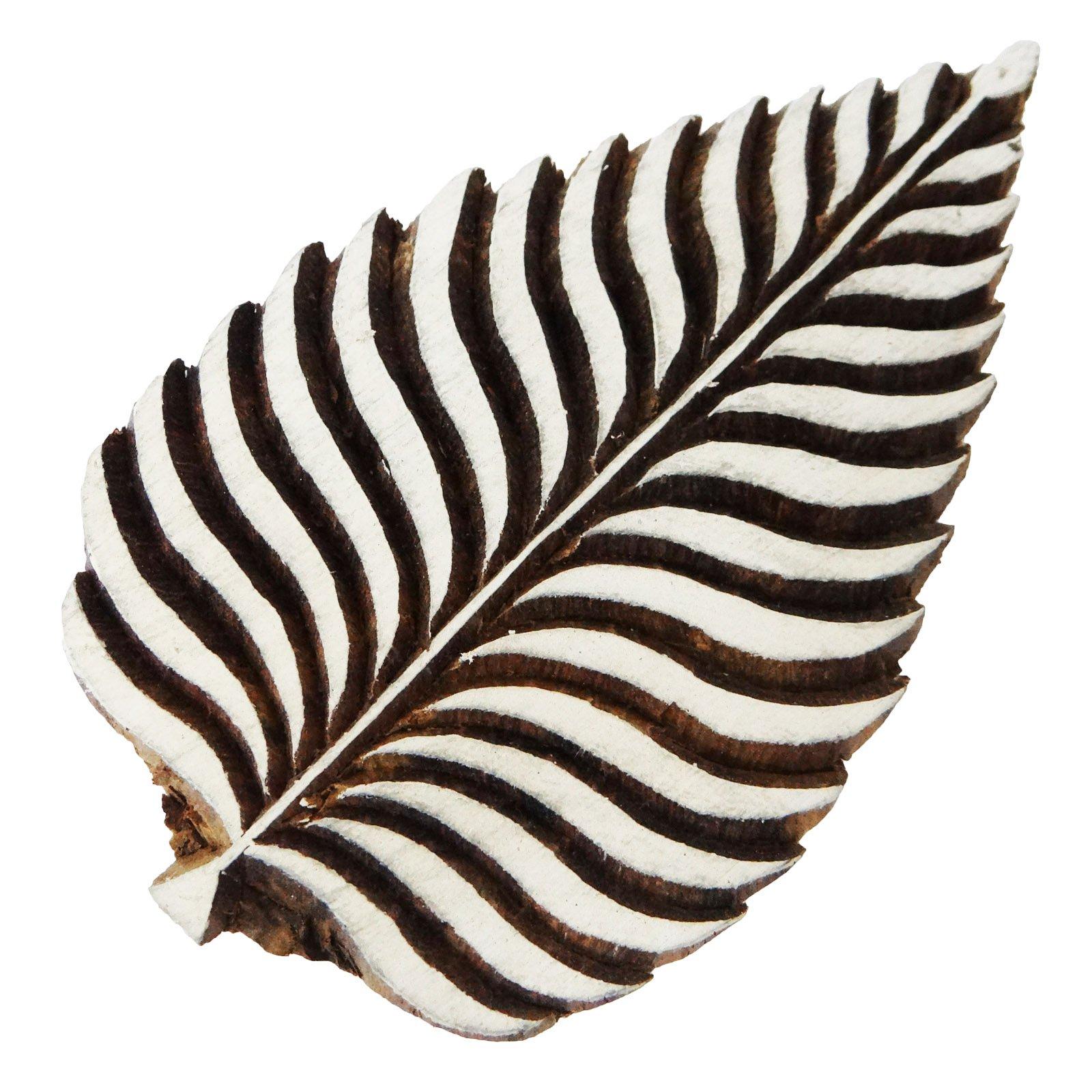 Traditional Leaf Design Wooden Block Decorative Textile Fabric Wood Craft Stamp