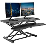 "TechOrbits Standing Desk Converter - 37"" Stand Up Desk Riser - Tabletop Sit Stand Desk Fits Dual Monitors - Two Tiered…"