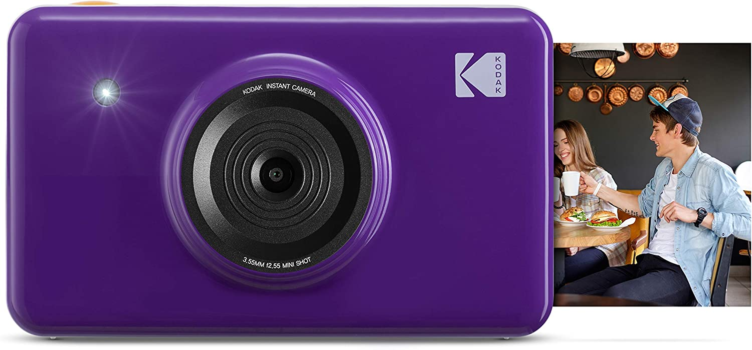 Kodak Mini Shot Wireless Instant Digital Camera & Social Media Portable Photo Printer, LCD Display, Premium Quality Full Color Prints, Compatible w/iOS & Android (Purple)