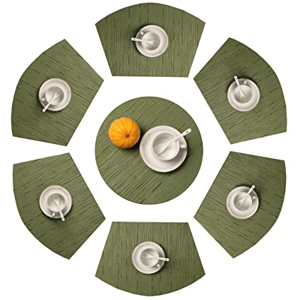 Round Table Placemats.Shacos Round Table Placemats Set Of 7 Wedge Placemat With Centerpiece Round Mat Pvc Heat Resistant Vinyl Table Mats 7 Green