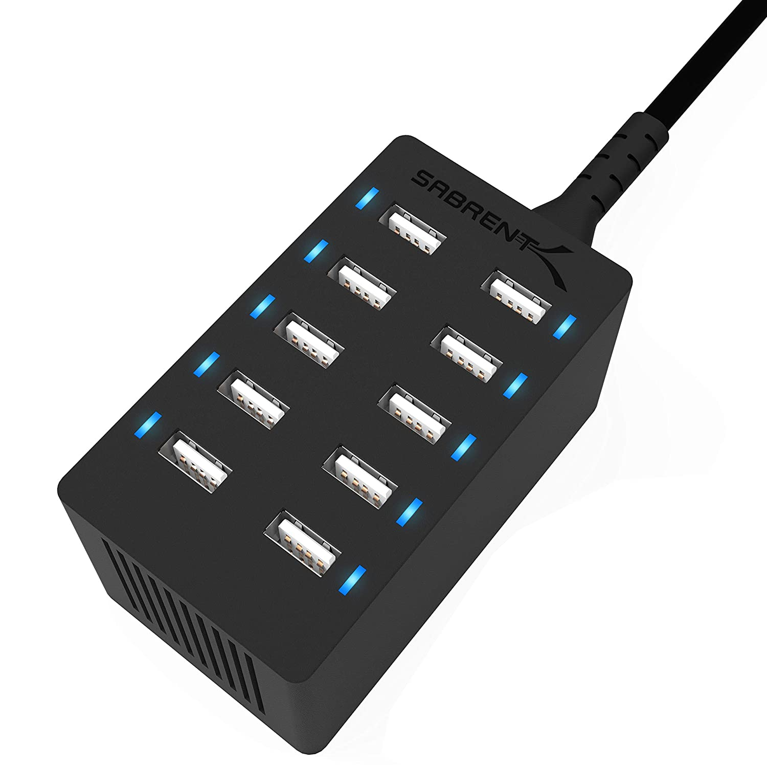 Sabrent 10-Port Family-Sized Desktop Rapid Charger, Smart USB Ports with Auto Detect Technology, Black (AX-TPCS)