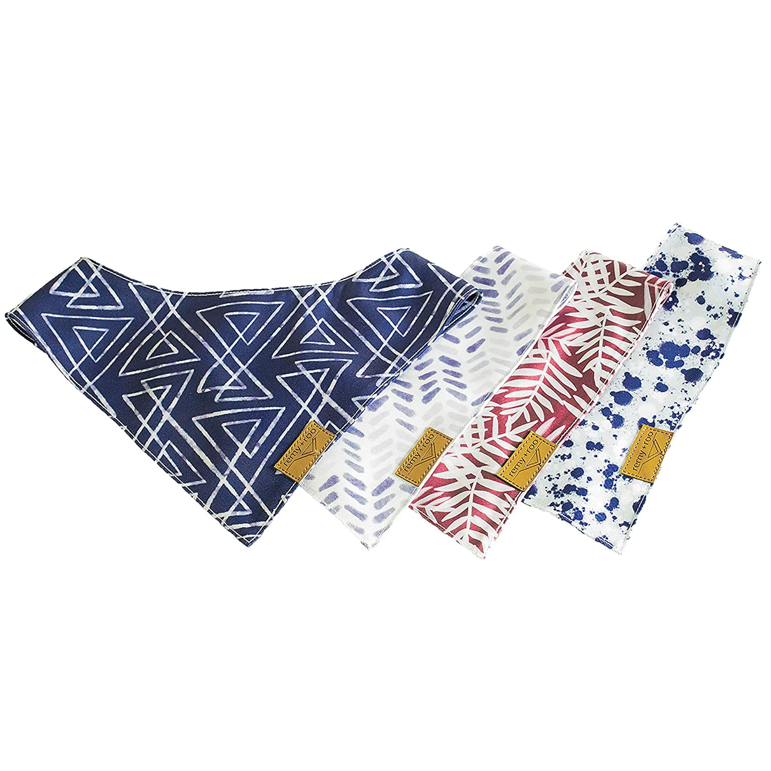 Small to Large The Classic Unique Adjustable Design for Any Size Pet Remy+Roo Dog Bandanas 4 Pack Premium Durable Fabric
