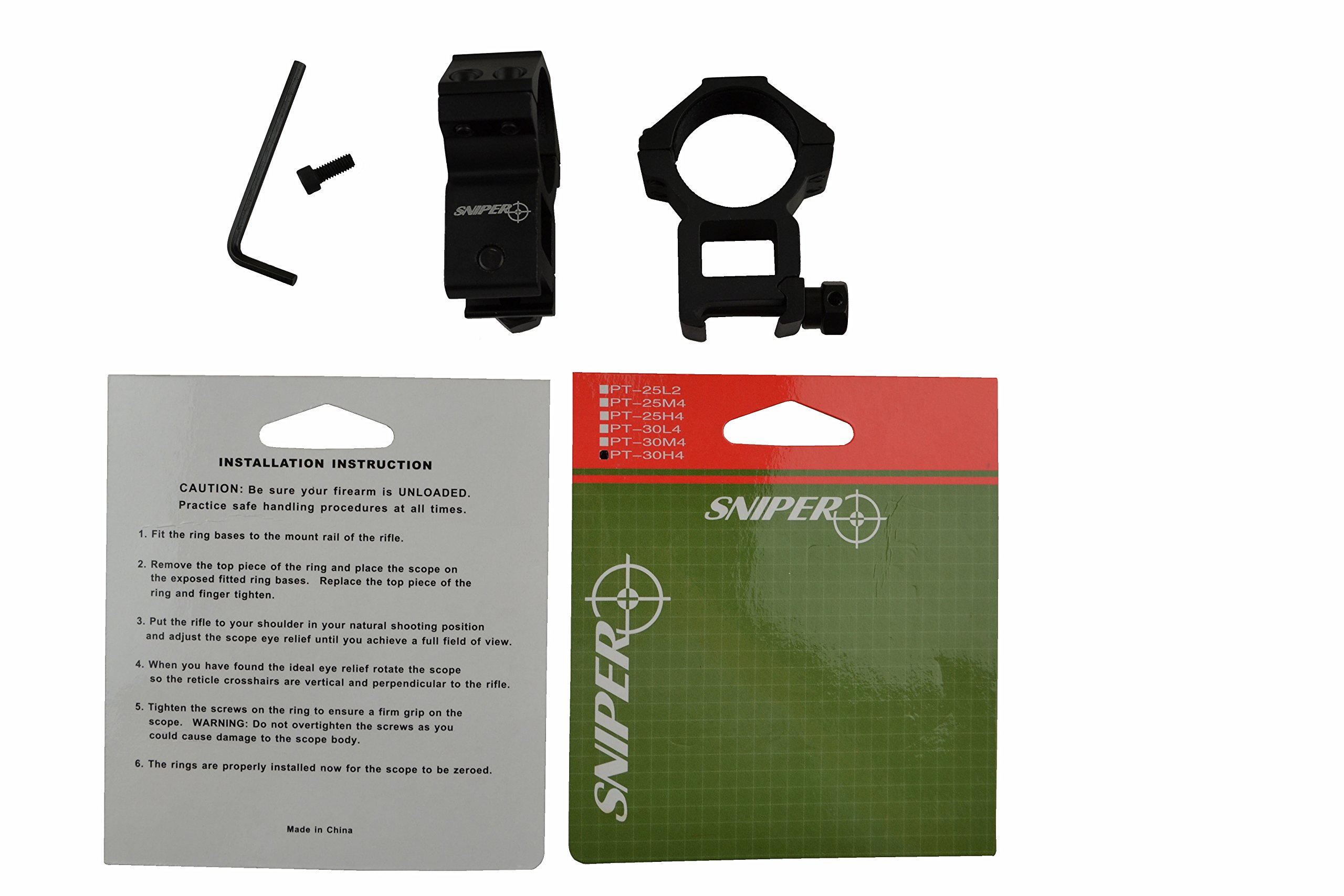 Sniper® 30 mm High Profile Scope Rings for Picatinny/ Weaver Rail, 4 points contact more Security