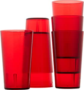 Restaurant Grade, BPA Free 12oz Red Plastic Cup 6 pk. Break Resistant Drinking Glasses Are Reusable, Stackable Shatterproof Tumblers. Great Drink Cups for Cafe and Catering Supplies