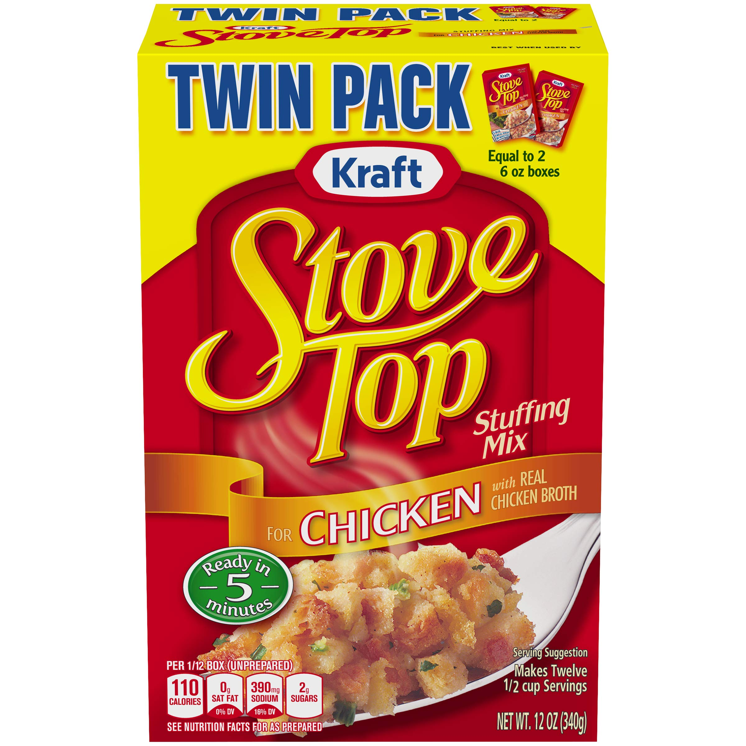 Kraft Stove Top Twin Pack Stuffing Mix For Chicken, 12 oz Box