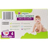 Happy Little Camper Ultra Absorbent Premium Natural Nappies, Toddler, Size 4 (10-17 kg), 80 Count