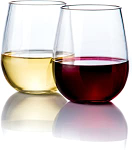 Elegant Stemless Plastic Wine Glasses by Savona | Unbreakable Wine Glasses | Ideal for Indoor/Outdoor Use | Dishwasher Safe | 100% Tritan Shatterproof Wine Glasses | Set of 2