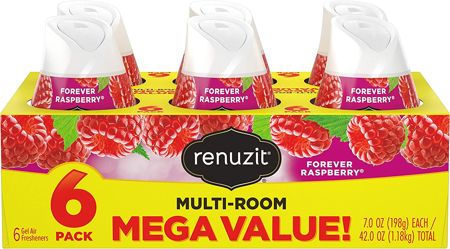 Renuzit Adjustable Air Freshener Gel, Forever Raspberry, 7 Ounces (6 Count)