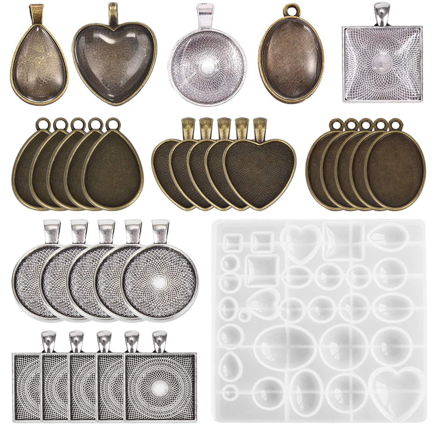 30 Pieces 5 Styles Pendant Trays,and 1 Pcs Silicone Resin Jewelry Casting Molds for Pendant Crafting DIY Jewelry Gift Making by F FYJS