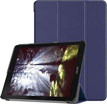 Boleyi Tableta Funda para Acer Chrome Book Tab 10, Ultra Slim Smart Cover PU Protector Soporte Función Auto-Sueño/Estela Negro,Azul Oscuro: Amazon.es: Electrónica