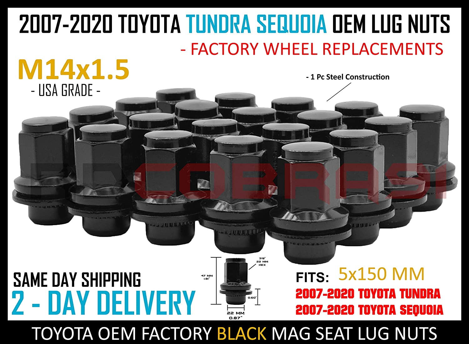 RdCobra91 20 Pc M14x1.5 Black OEM Factory Replacement Mag Seat Lug Nuts 5x150 Works with Toyota 2007-2020 Tundra Sequoia