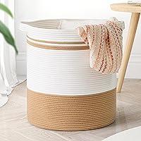 "Goodpick Cotton Rope Basket, 18""×16"" Laundry Hamper Basket Large Storage Basket with Handles Woven Wicker Basket for…"