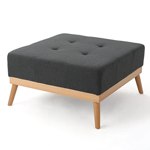Christopher Knight Home Living Lou Mid-Century Oxford Grey Fabric Ottoman, Dark Gray