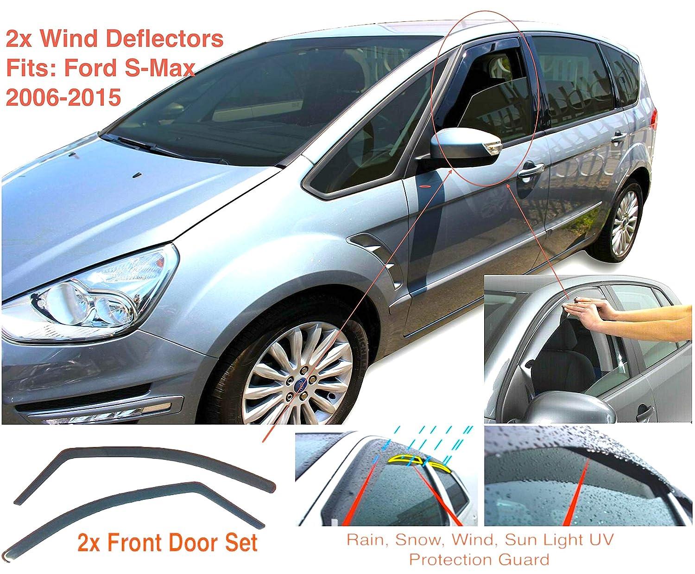 2x Deflectores de Aire Compatible con Ford S-MAX 2010 - 2015 Derivabrisas Cortavientos para ventanilla protección sol lluvia nieve viento Vidrio acrílico PMMA de primera calidad