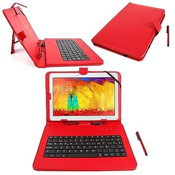 DURAGADGET Funda/Teclado Color ROJO En ESPAÑOL Con Letra Ñ Para Tablet Samsung Galaxy Tab