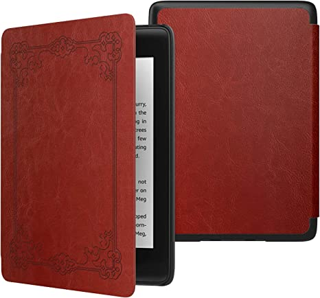 Red Genuine Leather Perfect Fit Origami Standing Cover with Auto Wake//Sleep for  Kindle Voyage Kindle Voyage Case