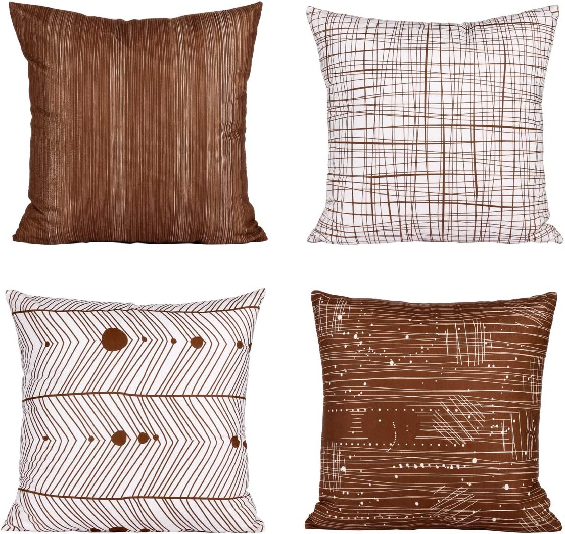 Fabthing Cushion Covers Decorative Throw Pillow Covers Square Pillowcase Colorful Geometric Cotton Linen for Sofa Home Bedroom Set of 4 ,18x18 Inch