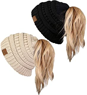 bb5210152ce Funky Junque Ponytail Messy Bun BeanieTail Women s Beanie Solid Ribbed Hat  Cap
