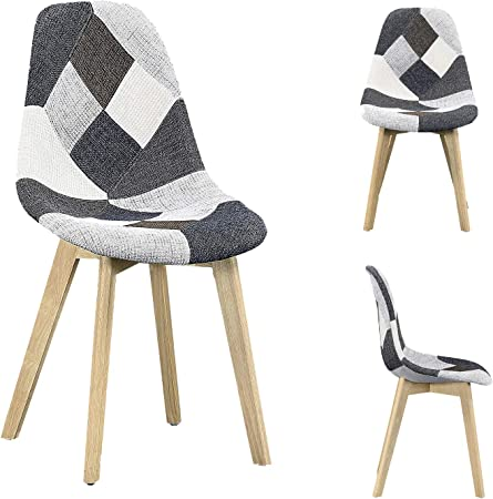 lestockdesign Lot de 4 Chaises Arctik Patchwork Gris