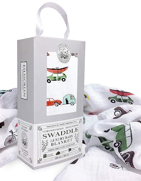 Eslesgreen Manta Muselina de bebé Grande 120x120cm | 100% Algodón Orgánico Super Suave | Regalo