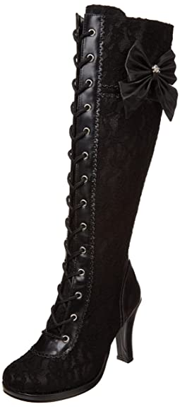 Demonia Pleaser Glam-240, Bottes Femme, NoirNero (Blk Vegan Leather-Blk Lace Overlay), 36 EU