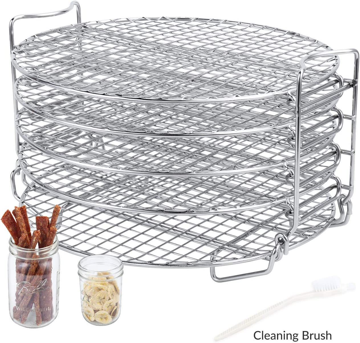 Dehydrator Stand for Ninja Foodi Accessories, Dehydrator Rack with Five Stackable Layers Food Grade 304 Stainless Steel Compatible with Ninja Foodi Pressure Cooker Air Fryer 6.5 qt & 8 qt